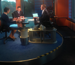 Commissioner Erica Groshen on the set with Eric Morath of the Wall Street Journal and C-SPAN host Peter Slen.