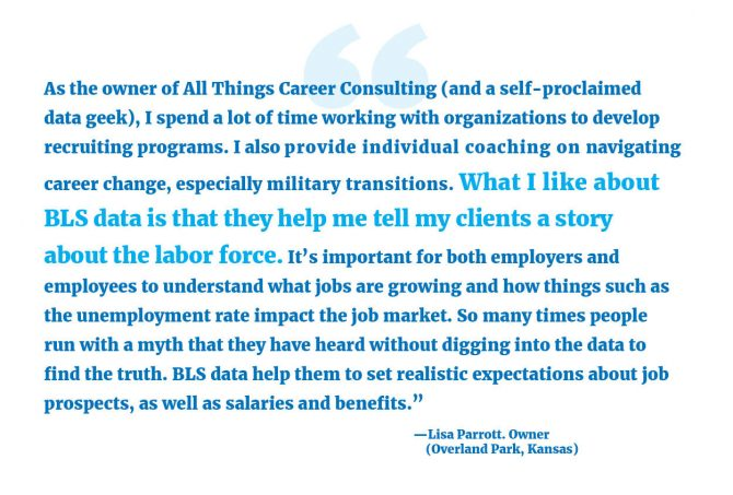 """""""As the owner of All Things Career Consulting (and a self-proclaimed data geek), I spend a lot of time working with organizations to develop recruiting programs. I also provide individual coaching on navigating career change, especially military transitions. What I like about BLS data is that they help me tell my clients a story about the labor force. It's important for both employers and employees to understand what jobs are growing and how things such as the unemployment rate impact the job market. So many times people run with a myth that they have heard without digging into the data to find the truth. BLS data help them to set realistic expectations about job prospects, as well as salaries and benefits."""" --Lisa Parrott, Owner (Overland Park, Kansas)"""