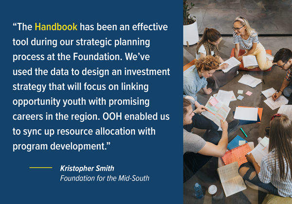 """The Handbook has been an effective tool during our strategic planning process at the Foundation. We've used the data to design an investment strategy that will focus on linking opportunity youth with promising careers in the region. OOH enabled us to sync up resource allocation with program development."" — Kristopher Smith, Foundation for the Mid-South"