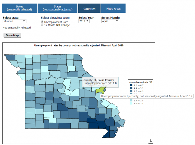Missouri map showing counties and their unemployment rates