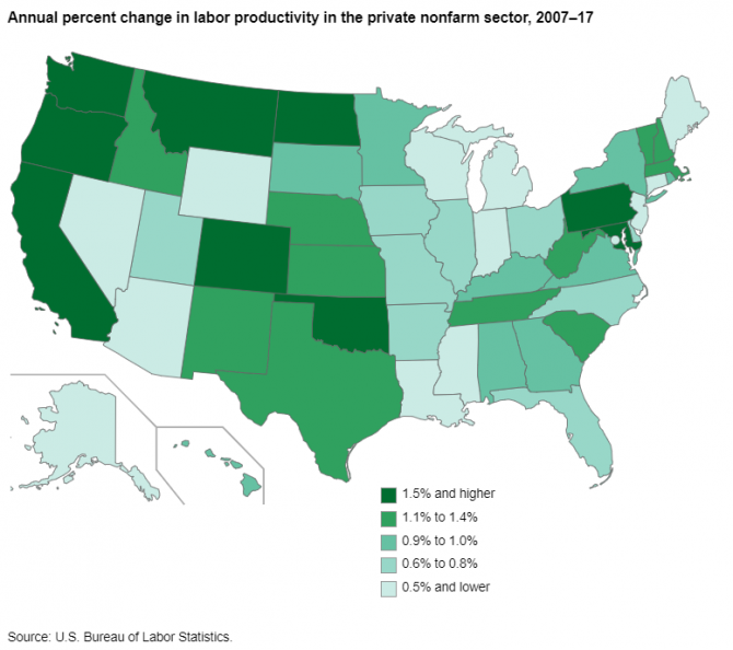 U.S. map showing productivity growth in the private nonfarm sector in each state from 2007 to 2017