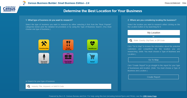 Census Business Builder home screen