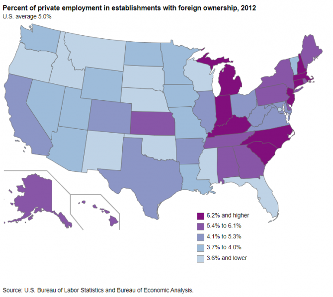 Map showing  each state's percent of private employment in establishments with foreign ownership, 2012