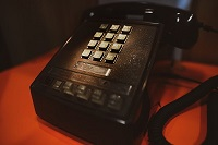 Vintage office phone with rows of buttons