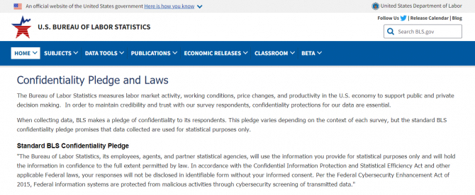 View of the webpage on Confidentiality Pledge and Laws at https://www.bls.gov/bls/confidentiality.htm