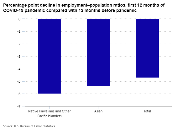 Percentage point decline in employment–population ratios, first 12 months of COVID-19 pandemic compared with 12 months before pandemic