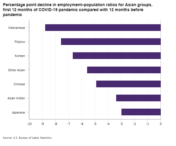 Percentage point decline in employment–population ratios for Asian groups, first 12 months of COVID-19 pandemic compared with 12 months before pandemic
