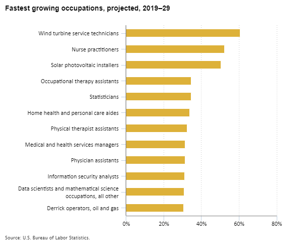 Fastest growing occupations, projected, 2019–29