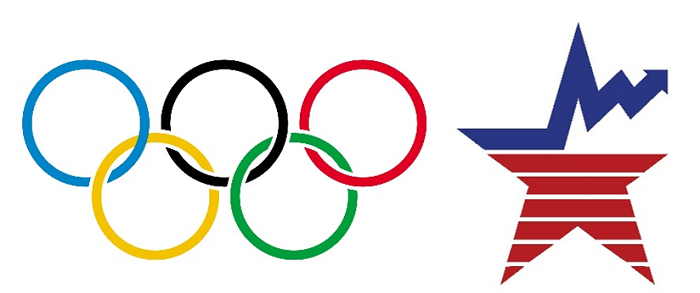Olympic symbol with five interlocking rings and BLS emblem